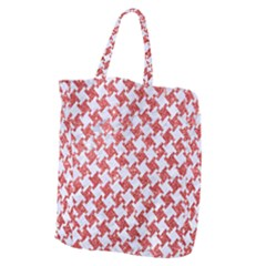 Houndstooth2 White Marble & Red Glitter Giant Grocery Zipper Tote by trendistuff