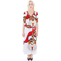 Child Of Artemis Christmas Animal Clipart Quarter Sleeve Wrap Maxi Dress