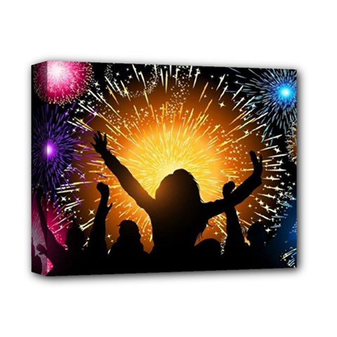 Celebration Night Sky With Fireworks In Various Colors Deluxe Canvas 14  X 11  by Sapixe