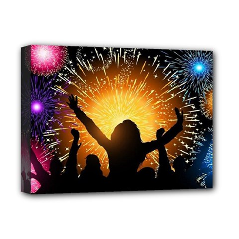 Celebration Night Sky With Fireworks In Various Colors Deluxe Canvas 16  X 12   by Sapixe