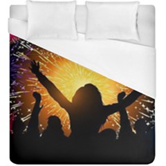 Celebration Night Sky With Fireworks In Various Colors Duvet Cover (king Size)