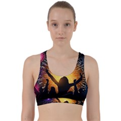 Celebration Night Sky With Fireworks In Various Colors Back Weave Sports Bra by Sapixe