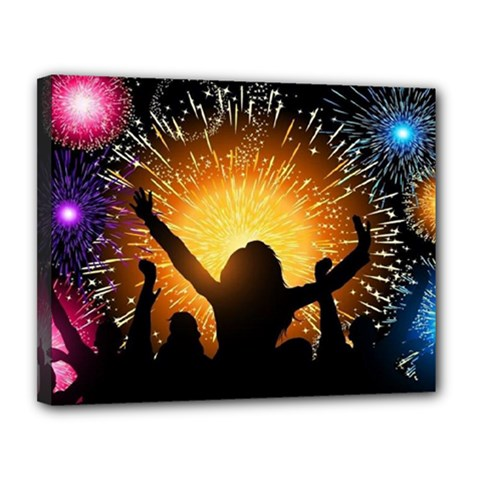 Celebration Night Sky With Fireworks In Various Colors Canvas 14  X 11  by Sapixe