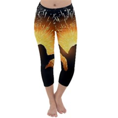 Celebration Night Sky With Fireworks In Various Colors Capri Winter Leggings  by Sapixe