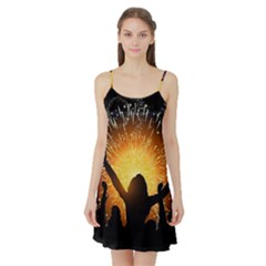Celebration Night Sky With Fireworks In Various Colors Satin Night Slip by Sapixe