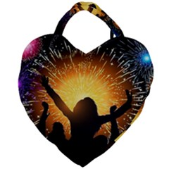 Celebration Night Sky With Fireworks In Various Colors Giant Heart Shaped Tote by Sapixe
