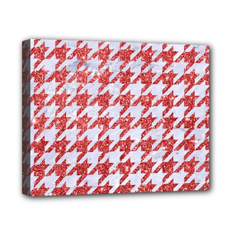 Houndstooth1 White Marble & Red Glitter Canvas 10  X 8  by trendistuff