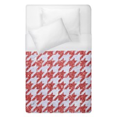 Houndstooth1 White Marble & Red Glitter Duvet Cover (single Size) by trendistuff