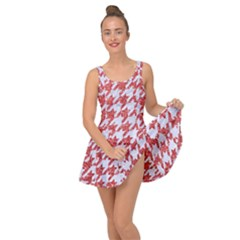 Houndstooth1 White Marble & Red Glitter Inside Out Dress