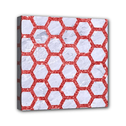 Hexagon2 White Marble & Red Glitter (r) Canvas Travel Bag