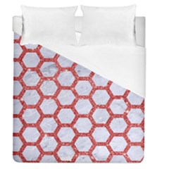 Hexagon2 White Marble & Red Glitter (r) Duvet Cover (queen Size) by trendistuff