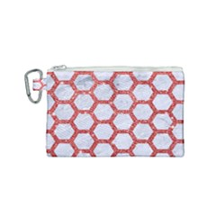 Hexagon2 White Marble & Red Glitter (r) Canvas Cosmetic Bag (small) by trendistuff