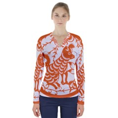 Chinese Zodiac Dog V Neck Long Sleeve Top