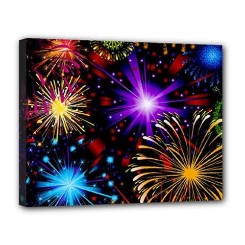 Celebration Fireworks In Red Blue Yellow And Green Color Canvas 14  X 11  by Sapixe