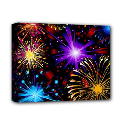 Celebration Fireworks In Red Blue Yellow And Green Color Deluxe Canvas 14  X 11  by Sapixe