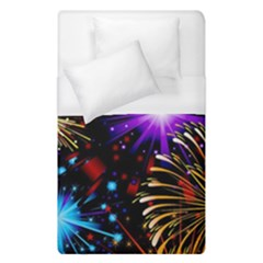Celebration Fireworks In Red Blue Yellow And Green Color Duvet Cover (single Size)