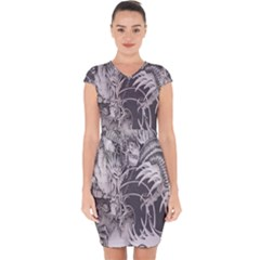 Chinese Dragon Tattoo Capsleeve Drawstring Dress  by Sapixe