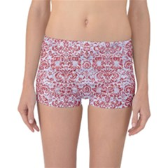 Damask2 White Marble & Red Glitter (r) Reversible Boyleg Bikini Bottoms