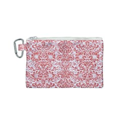Damask2 White Marble & Red Glitter (r) Canvas Cosmetic Bag (small) by trendistuff