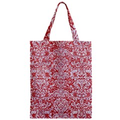 Damask2 White Marble & Red Glitter Zipper Classic Tote Bag by trendistuff