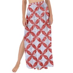 Circles3 White Marble & Red Glitter (r) Maxi Chiffon Tie Up Sarong