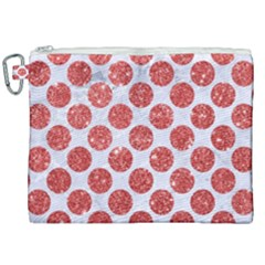 Circles2 White Marble & Red Glitter (r) Canvas Cosmetic Bag (xxl)