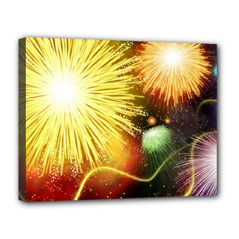 Celebration Colorful Fireworks Beautiful Canvas 14  X 11  by Sapixe