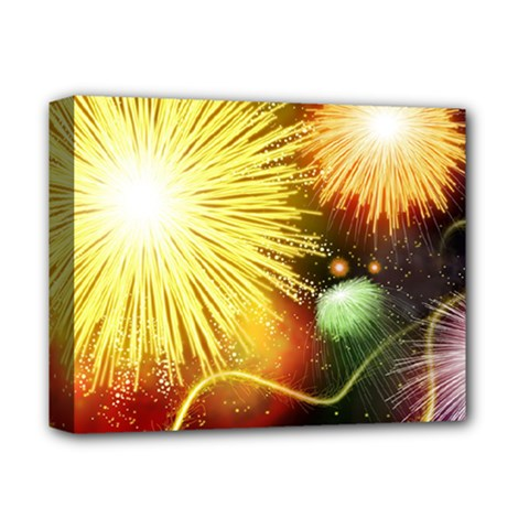 Celebration Colorful Fireworks Beautiful Deluxe Canvas 14  X 11  by Sapixe