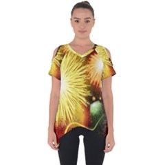 Celebration Colorful Fireworks Beautiful Cut Out Side Drop Tee by Sapixe
