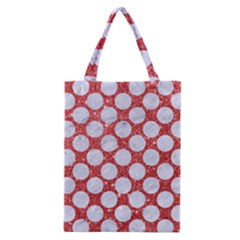 Circles2 White Marble & Red Glitter Classic Tote Bag by trendistuff