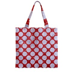 Circles2 White Marble & Red Glitter Zipper Grocery Tote Bag by trendistuff
