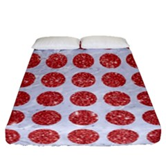 Circles1 White Marble & Red Glitter (r) Fitted Sheet (queen Size) by trendistuff