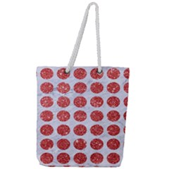Circles1 White Marble & Red Glitter (r) Full Print Rope Handle Tote (large)