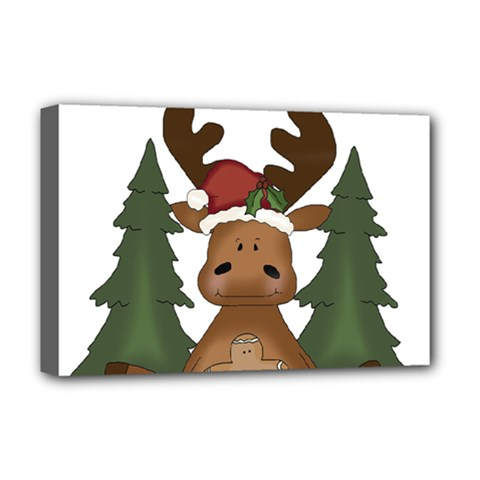 Christmas Moose Deluxe Canvas 18  X 12   by Sapixe