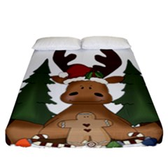 Christmas Moose Fitted Sheet (california King Size)