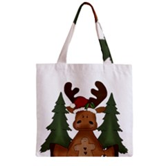 Christmas Moose Zipper Grocery Tote Bag