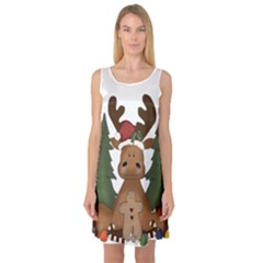 Christmas Moose Sleeveless Satin Nightdress