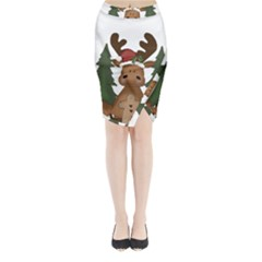 Christmas Moose Midi Wrap Pencil Skirt