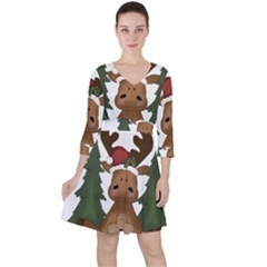 Christmas Moose Ruffle Dress by Sapixe