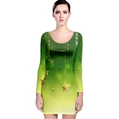 Christmas Green Background Stars Snowflakes Decorative Ornaments Pictures Long Sleeve Velvet Bodycon Dress