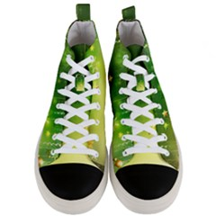 Christmas Green Background Stars Snowflakes Decorative Ornaments Pictures Men s Mid Top Canvas Sneakers