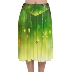 Christmas Green Background Stars Snowflakes Decorative Ornaments Pictures Velvet Flared Midi Skirt