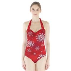 Christmas Pattern Halter Swimsuit by Sapixe