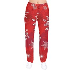 Christmas Pattern Velvet Drawstring Pants