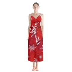 Christmas Pattern Button Up Chiffon Maxi Dress