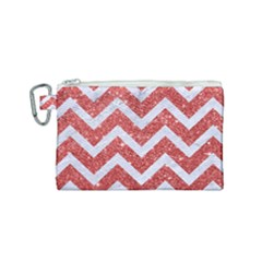 Chevron9 White Marble & Red Glitter Canvas Cosmetic Bag (small) by trendistuff