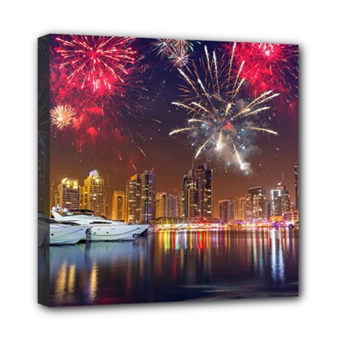 Christmas Night In Dubai Holidays City Skyscrapers At Night The Sky Fireworks Uae Multi Function Bag