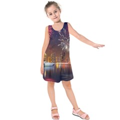 Christmas Night In Dubai Holidays City Skyscrapers At Night The Sky Fireworks Uae Kids  Sleeveless Dress