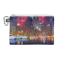 Christmas Night In Dubai Holidays City Skyscrapers At Night The Sky Fireworks Uae Canvas Cosmetic Bag (large) by Sapixe