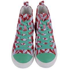 Chevron1 White Marble & Red Glitter Women s Mid Top Canvas Sneakers